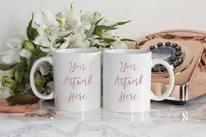 White Double mug mockup