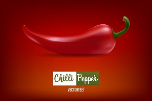 Chilli pepper - vector set .