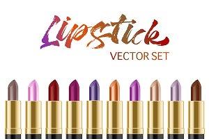 Vector realistic lipstick set.