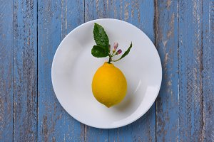 Lemon on White Plate