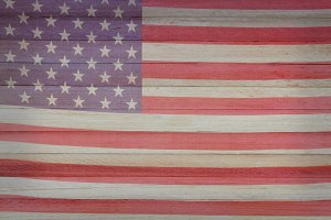 Faded American Flag on Wood