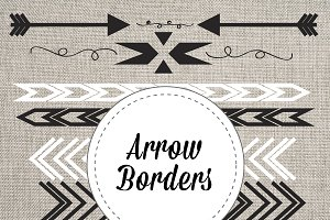 Arrow Borders Black & White Vector