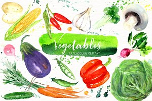 Vegetables. Watercolor clipart.