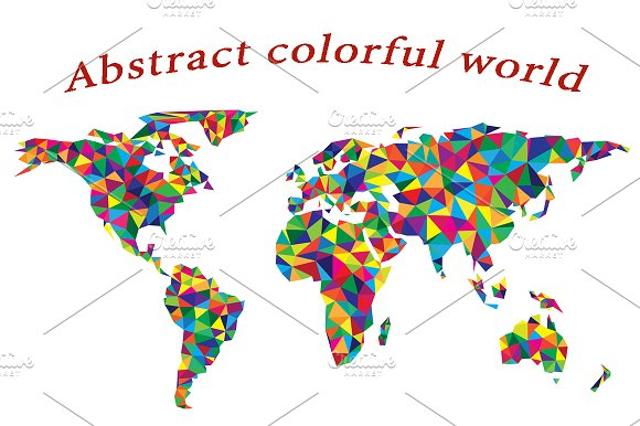 Abstract Colorful World Silhouette