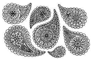 Paisley buta doodle set vector