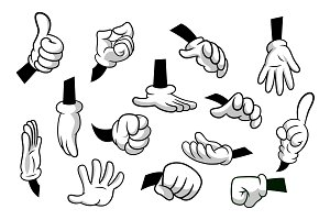 Cartoon hands set.