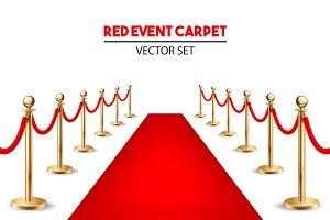 Red event carpet set.
