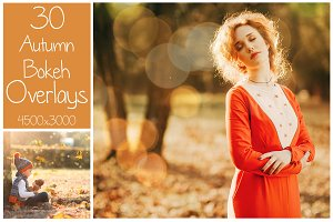 30 Autumn Bokeh Overlays