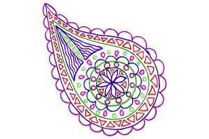 Colorful paisley buta doodle vector