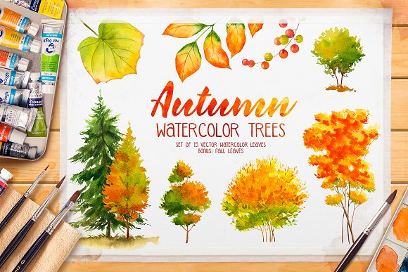 Autumn watercolor trees-Graphicriver中文最全的素材分享平台