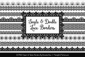Black Lace Clipart Borders