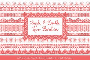 Coral Lace Clipart Borders