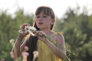 Little girl collects flowers on field - russian summer village