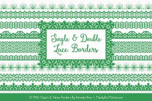 Green Lace Clipart Borders