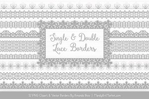 Grey Lace Clipart Borders