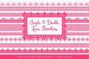 Hot Pink Lace Clipart Borders