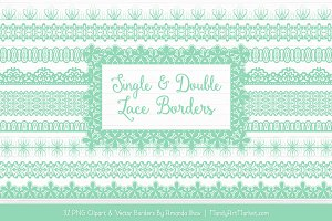 Mint Lace Clipart Borders