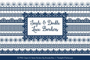 Navy Lace Clipart Borders