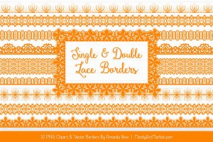 Orange Lace Clipart Borders