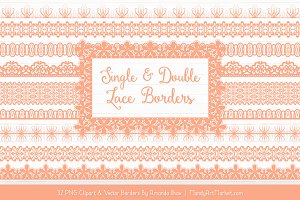 Peach Lace Clipart Borders