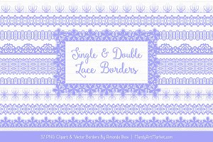 Periwinkle Lace Clipart Borders