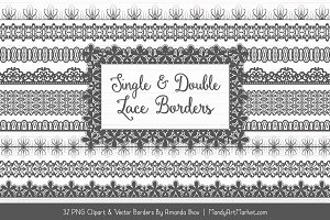 Pewter Lace Clipart Borders