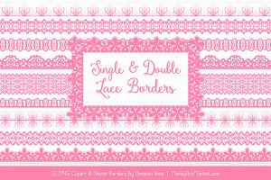 Pink Lace Clipart Borders