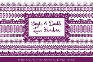 Plum Lace Clipart Borders