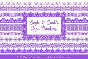 Purple Lace Clipart Borders