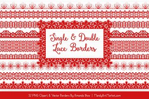 Red Lace Clipart Borders