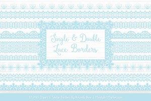 Soft Blue Lace Clipart Borders