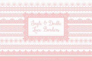 Soft Pink Lace Clipart Borders