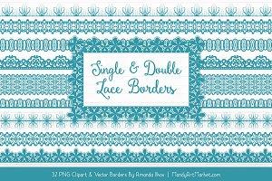 Vintage Blue Lace Clipart Borders