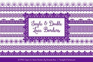 Violet Lace Clipart Borders