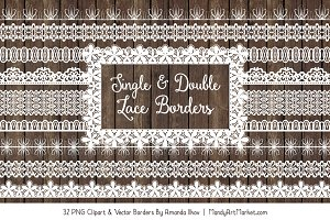 White Lace Clipart Borders