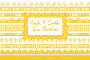 Yellow Lace Clipart Borders