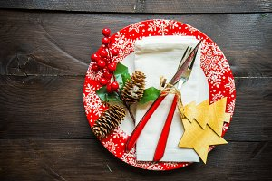 Christmas festive table setting
