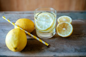 Glass of fresh lemonade