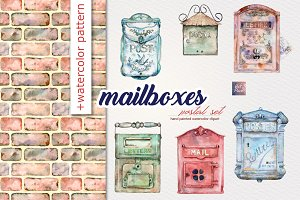 Watercolor Mailboxes postal set