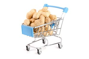 peanut in a shopping cart isolated on white background