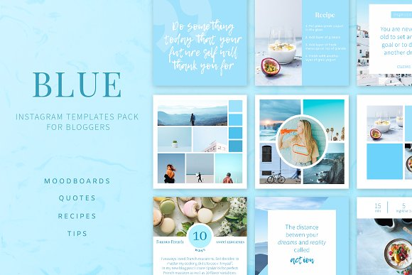 Blue Instagram Templates Pack