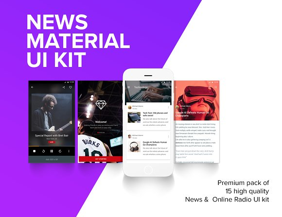 news material design template ui kit templates creative market