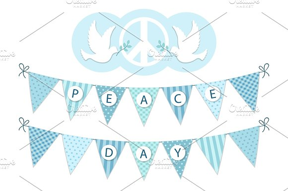 Festive Bunting With Letters For International Day Of Peace In Traditional Light Blue Colors