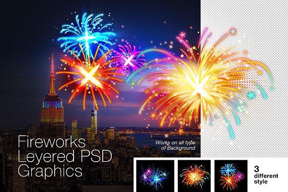 Layered PSD Fireworks Graphics