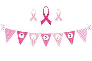 Pink bunting Breast Cancer Awareness and pink ribbons isolated on white background