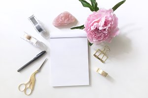 Pink Blossom Flatlay and Writing Pad