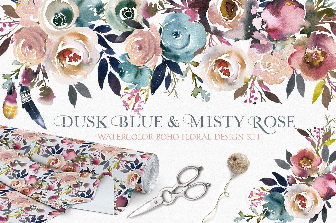 Dusk Blue Misty Rose Boho Flowers Illustrations Creative Market