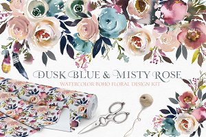 Dusk Blue & Misty Rose Boho Flowers