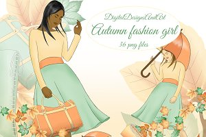 Autumn fashion girl clipart