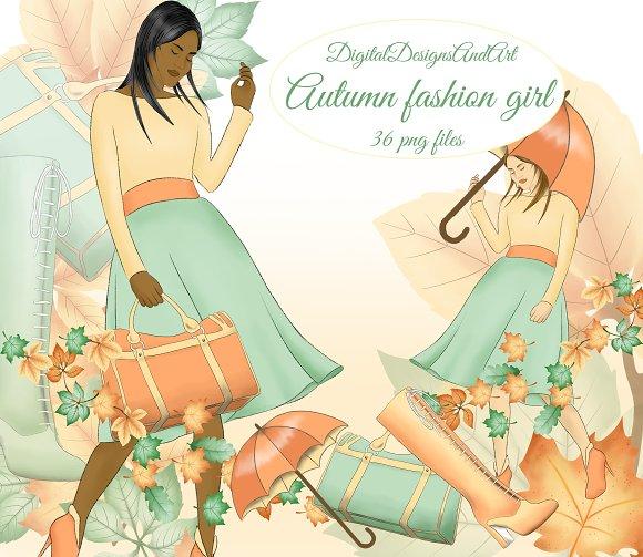 Autumn fashion girl clipart